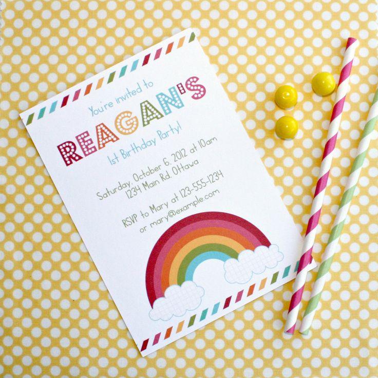 Modern Rainbow Party Invitation  - Personalized Birthday Printable Invite .. mrp01. $15.00, via Etsy.
