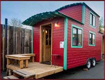 I want to stay here!  It's the Caboose Tiny House at Caravan Tiny House Hotel in Portland OR
