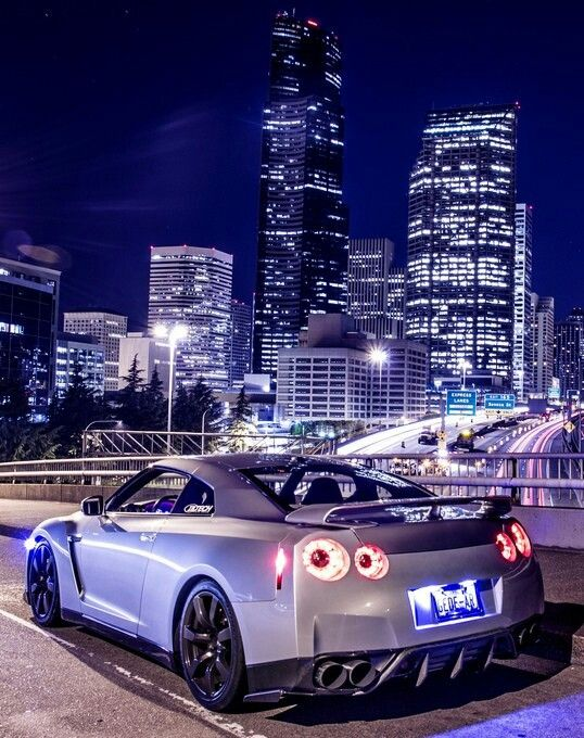 Nissan GT R With City Skyline Long Exposure