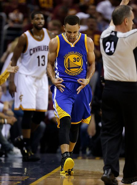 Golden State Warriors' Stephen Curry (30) celebrates his three-point basket against the Cleveland Cavaliers in the third quarter of Game 4 of the NBA Finals at Quicken Loans Arena in Cleveland, Ohio, on Friday, June 10, 2016. (Nhat V. Meyer/Bay Area News Group)