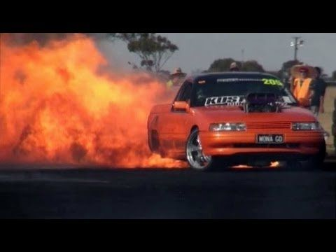 Justen Brown absolutely torches his Holden ute at Mallanats with one of the biggest fire shows we've seen.      And then he came out in the finals and do it all again.