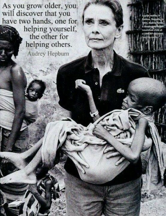 Audrey Hepburn, known for her starring roles in films such as Roman Holiday, Breakfast at Tiffany's, and My Fair Lady, dedicated the last years of her life to helping children in need around the world. She was one of a kind.