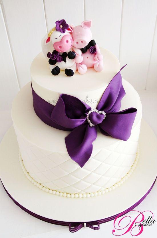 Con tope de pareja de vaca con cerdo - Свадебные торты фиолетового цвета | Модная свадьба