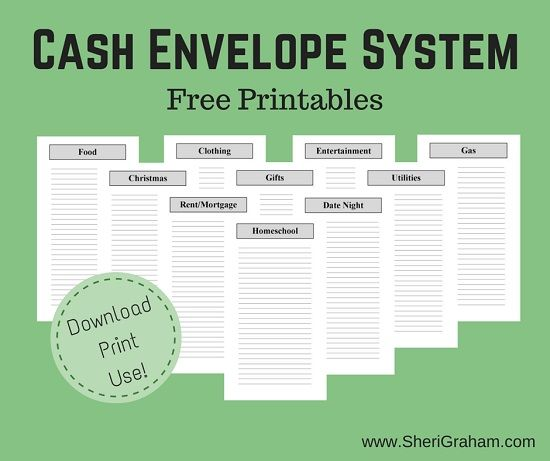 Free printable Cash Envelope System  Download this free printable Cash Envelope System to help you stick with your budget.