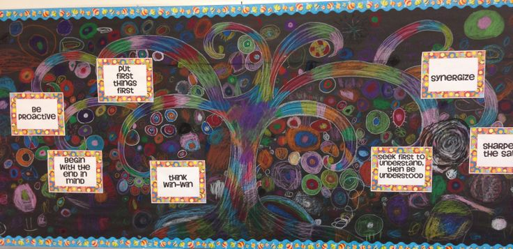 """7 Habits Tree - Draw the tree trunk in pastel and then have the students add circle leaves to create a """"synergized"""" 7 habits tree.  After that, add on the 7 habits."""