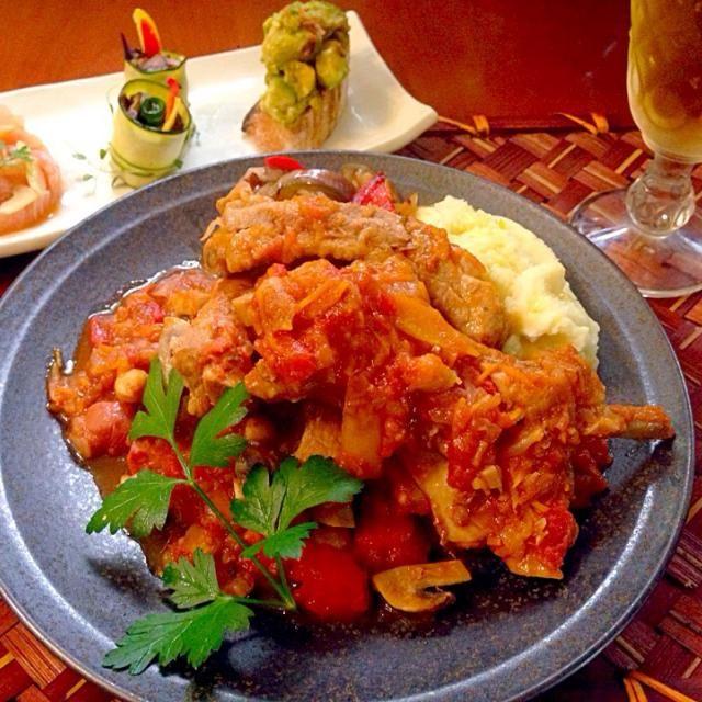 To:1125shinoさん 志野さん✨ リスナップもありがとうございます❗️ - 84件のもぐもぐ - Today's Dinner前菜(romieさんのアボカドのピスタチオまみれ・akikoさんの茄子とズッキーニの付け合わせ)・スペアリブのトマト煮込み by Ami