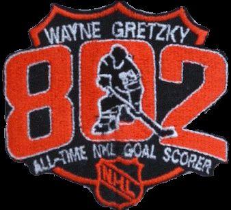 LA Kings commemorative patch for Wayne Gretzky scoring career goal #802 breaking Gordie Howe's record, March 23, 1994.