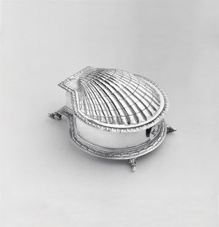 Oyster-shaped Sugar Box | London, unknown maker (16th c.) | Ashmolean Museum, Oxford | Steppes Hill Farm Antiques | http://www.steppeshillfarmantiques.com/blog/ashmolean-museum-exhibits-fine-collection-of-antique-silver-2147