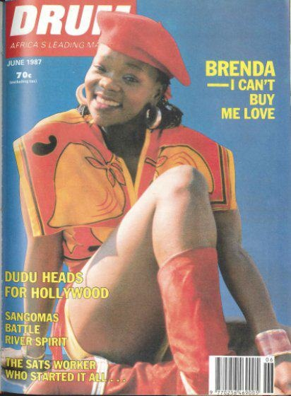 Historic Drum magazine cover with Brenda Fassie