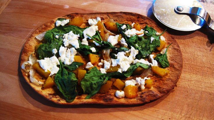 Butternut Squash Pizza w/ Goat Cheese on FlatOut bread. (I would add ...