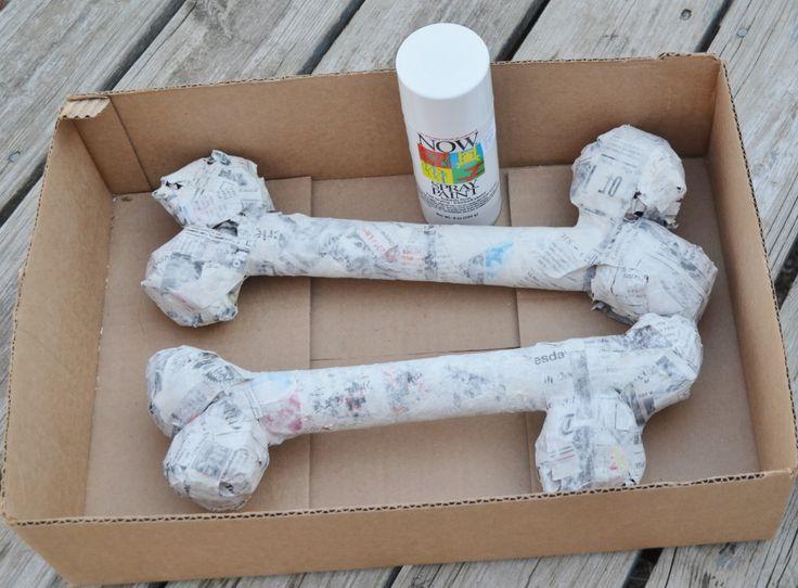 DIY Paper Mache Dinosaur Fossil Bones or Halloween Bones Decor