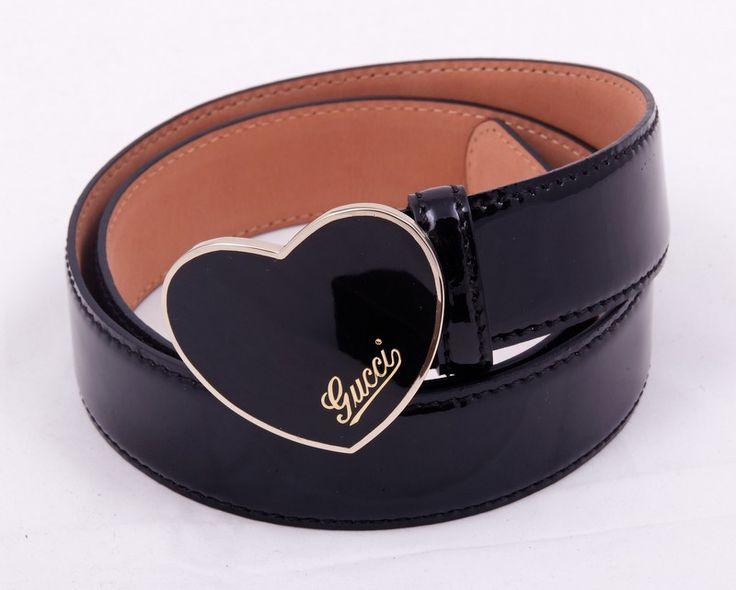 Женский ремень Gucci (Гуччи) черный с пряжкой в виде сердечка #19497 !! Распродажа модели !! Модель со скидкой !!