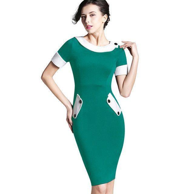 Ladies Office elegant Women Tunic Plus Size Work Dress button Short Sleeve