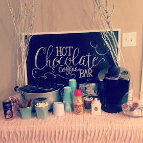 Winter ONEderland first birthday party. Hot chocolate and coffee bar. Chalkboard sign