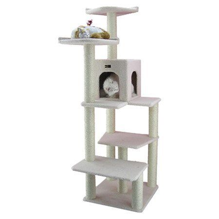 68 Classic Cat Tree in Ivory - Premium Cat Tree for Large Cats and Kittens, Cat Furniture Bundles with Scratching Post and Cat Condo, Cheap Cat Trees and Condos with 6 Months Warranty by Armarkat *** More details can be found by clicking on the image.
