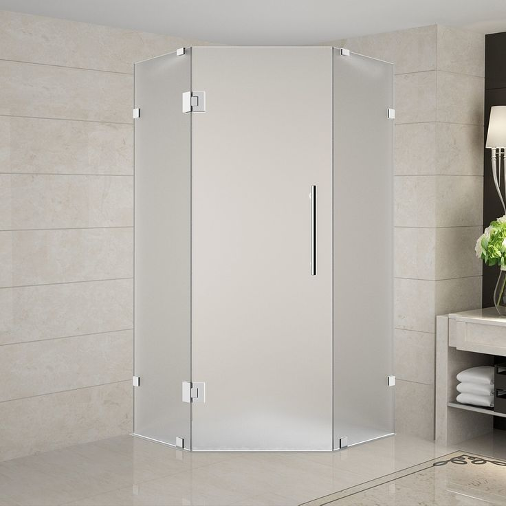 """Neoscape 42"""" x 42"""" x 72"""" Completely Frameless Neo-Angle Hinged Door Shower Enclosure, Frosted Glass"""