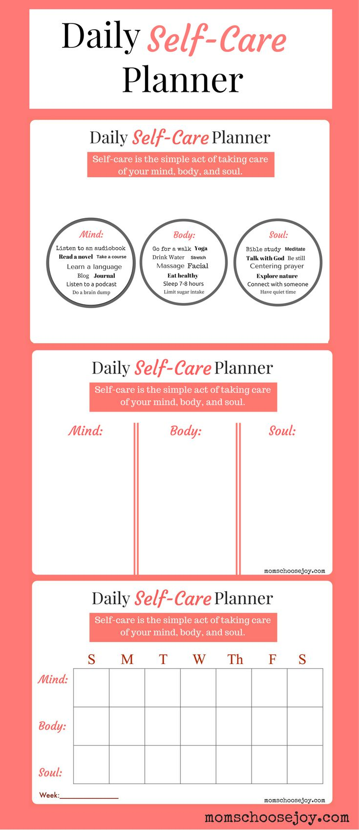 Do you prioritize SELF-CARE? A daily self-care planner will help you establish a routine to refresh and rejuvenate your MIND, BODY, and SOUL each day. Request your free Daily Self-Care Planner Printable and start caring for yourself today!