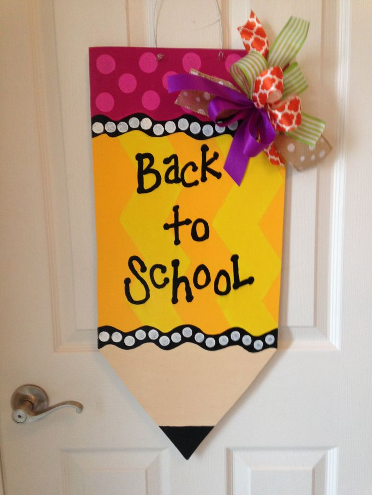Craft Ideas For Classroom Decoration ~ Back to school door hanger pencil wreath fall