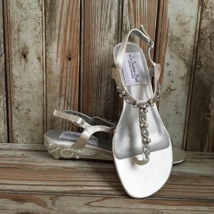 Thong Bridal Wedding Wedge Sandal Destination Sandal Wedge Reception Flip Flop Sandal by LaBoutiqueBride on Etsy