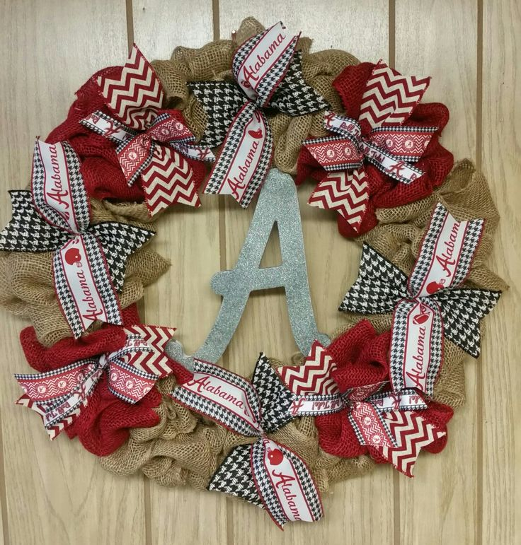 Bama Roll Tide Burlap Wreath Custom-made $50 #University of Alabama #Crimson #Football #Roll tide #gift #Wreath