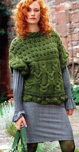 Интересный пуловер с косами, очень красивый, нравится? Все описание есть на фото