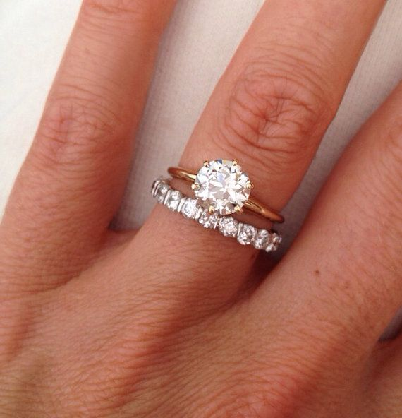 love the simple band on the engagement ring and the diamonds on the wedding band - Solitaire Engagement Ring With Diamond Wedding Band