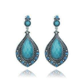 Promotions Wholesale New Vintage Bohemian Style Ethnic Resin Jewelry Waterdrop Shaped Resin Dress Stud Earrings for Women Ladies $1.98