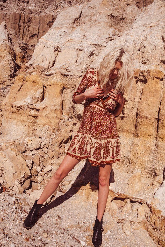Wild Magnolia Mini Dress in Indian Dusk - Arnhem Clothing