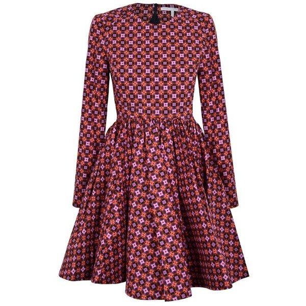 Victoria, Victoria Beckham Full Skirt Dress | GarmentQuarter ($1,025) ❤ liked on Polyvore featuring dresses, short dresses, skirts, summer mini dresses, purple mini dress, skater skirt, high-waist skirt and long sleeve mini dress
