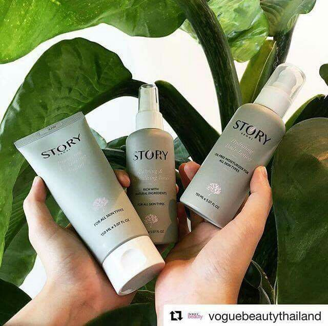 """""""Look after your skin with @story_seoul and its 3-step skincare routine; cleansing foam, toner and moisturizer, which will leave you with clean and healthy glowing skin. And on top of that, all the ingredients are completely non-toxic, which means that they won't irritate or harm your skin.""""  Story Seoul Skincare recommended by Vogue magazine beauty editor! Thank you so much! <3  . . . . #repost #recommendedbyVOGUE VogueBeautyThailand #StorySeoul"""