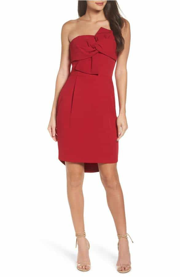 Red Strapless Party Dress
