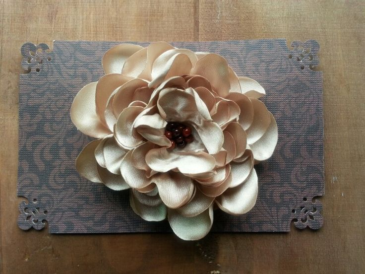 Flaxseed Satin Flower Hair Clip.