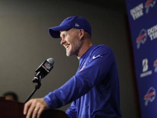 Buffalo Bills head coach Sean McDermott speaks to the