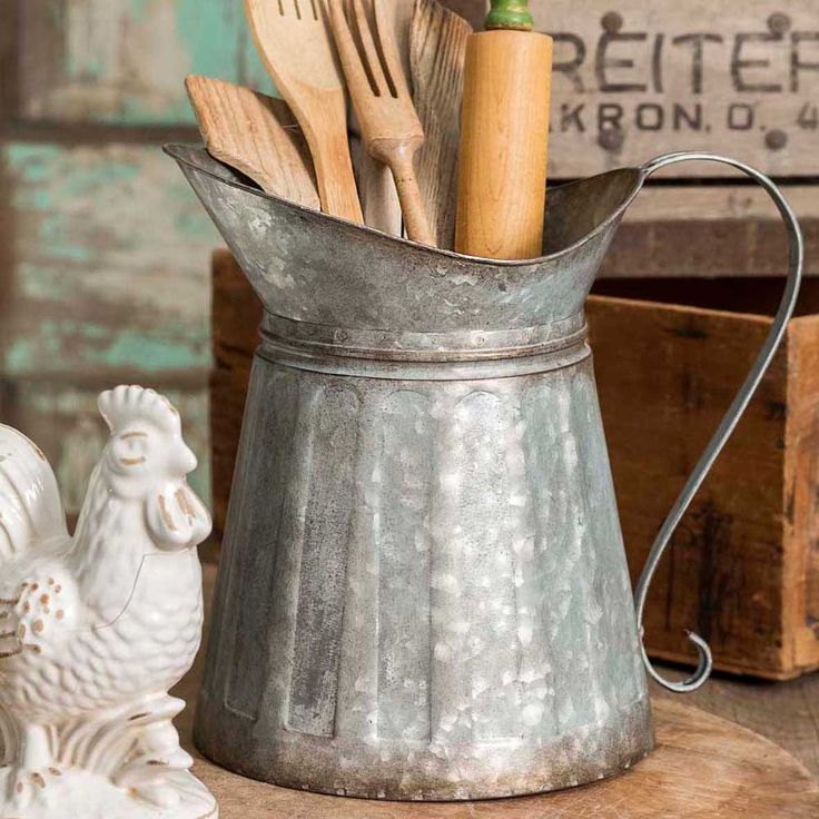 10% OFF Galvanized Metal Milk Pitcher & chance to stack addl discounts w/ Wheelio promos #farmhouse