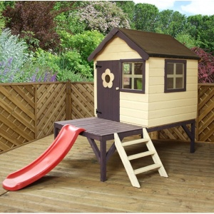 4x4 Wooden Playhouse with Slide and platform - more space to have fun!