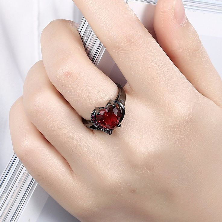 INALIS Heart Zircon Rhinestone Ring For Women at Banggood