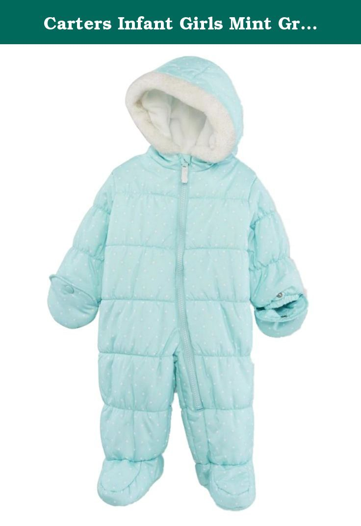 Carters Infant Girls Mint Green Polka Dot Snowsuit Baby Pram Snow Suit 6-9m. This darling mint green snowsuit with polka dot print will keep her cozy & warm on those cold winter days! Infant girl's sizes Attached hood & slipper feet Convertible mittens Faux fur trim hood Zipper front with safety tab 100% Polyester Water Resistant Brand: Carters .