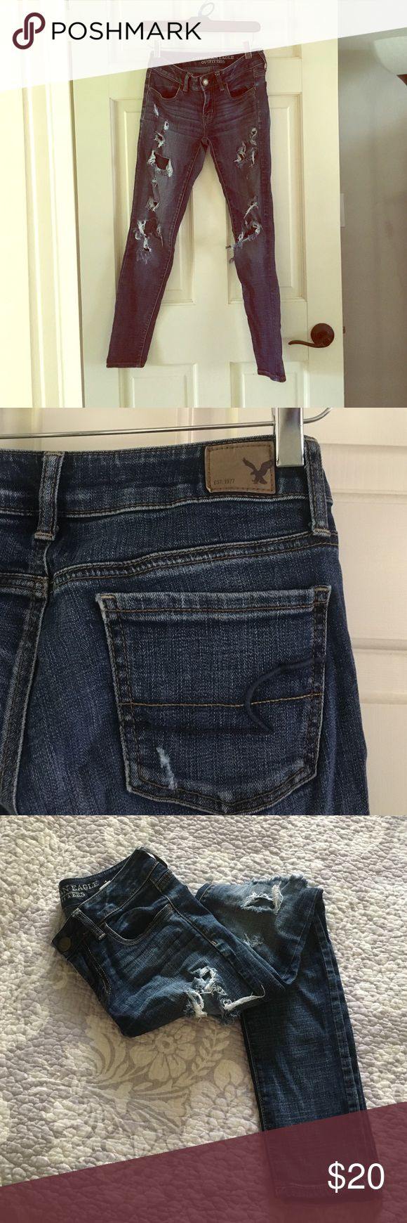 American eagle destroyed jeans Stretch denim destroyed skinny jeans American Eagle Outfitters Jeans Skinny