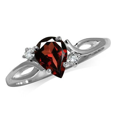 1ct. Natural Garnet & White Topaz 925 Sterling Silver Engagement Ring SZ 6