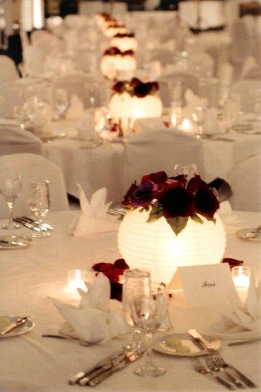 Paper lanterns as light-up Centrepieces   Inexpensive Idea. Beautiful!