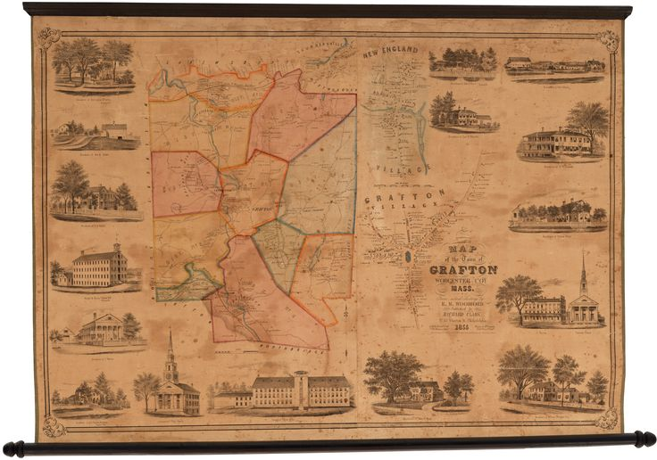 A lovely, richly-informative, and extraordinarily rare 1855 wall map of Grafton Massachusetts, an important Worcester County mill town.  Woodford's map provides a wonderfully detailed depiction of Grafton, located in Worcester County along the Quinsigamond River just west of modern-day Route 495.  #GraftonMassachusetts #RichardClark #wallmap #WorcesterCounty #Massachusetts #grafton #graftonma #worcester #antiquemaps #raremaps