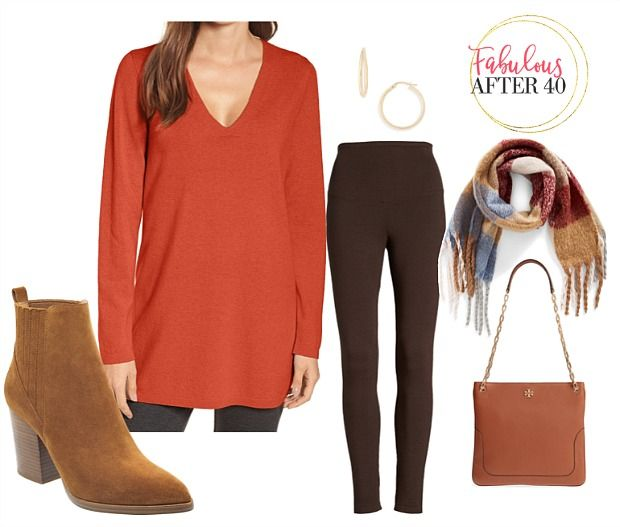 2978272cb3f The best long tops to wear with leggings - orange v-neck sweater | Fabulous  After 40