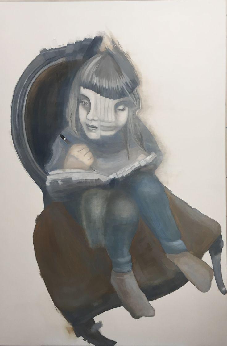 Illusion of time   Oil on canvas    1500x800      {surrealism, time lapse, belinda griffiths, oil painting portrait,  schmincke,  glitch,  figurative, contemporary art}