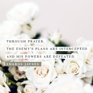 Through Prayer, the enemy's plans are intercepted and his powers are defeated.  -Sharon Jaynes
