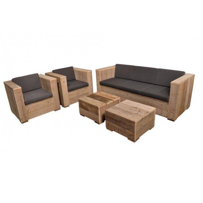 Love this! Steigerhout Loungeset - Loungebank met stoelen | EcoFurniture.eu