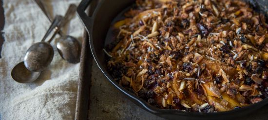 Paleo Peach Cobbler with Blueberries