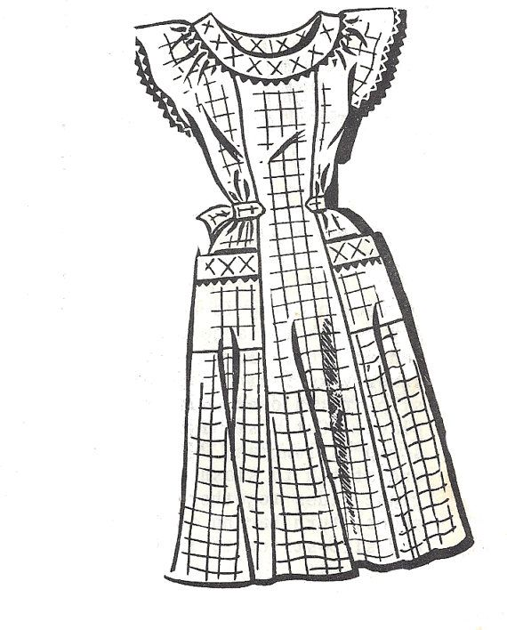 1950s Dress Pattern Housedress Pockets Unprinted Sew - Rite Mail Order Vintage Sewing Women's Misses Size 16 Bust 34 Inches