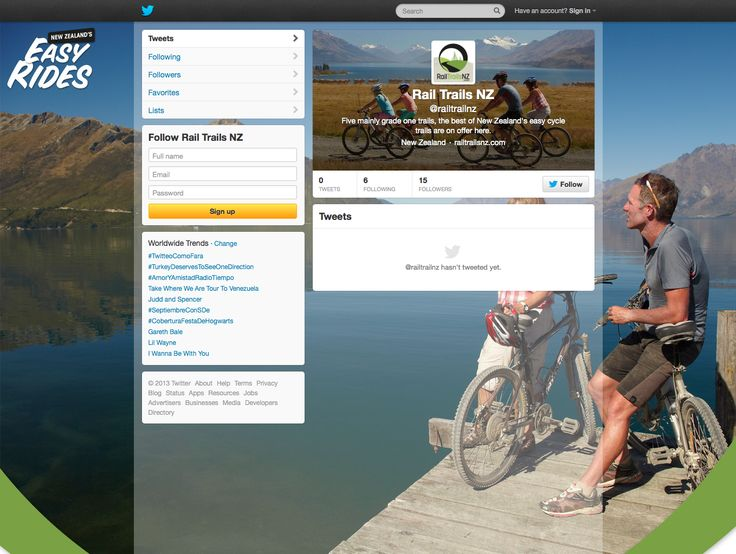 Rail Trails NZ.com brand graphics for Twitter