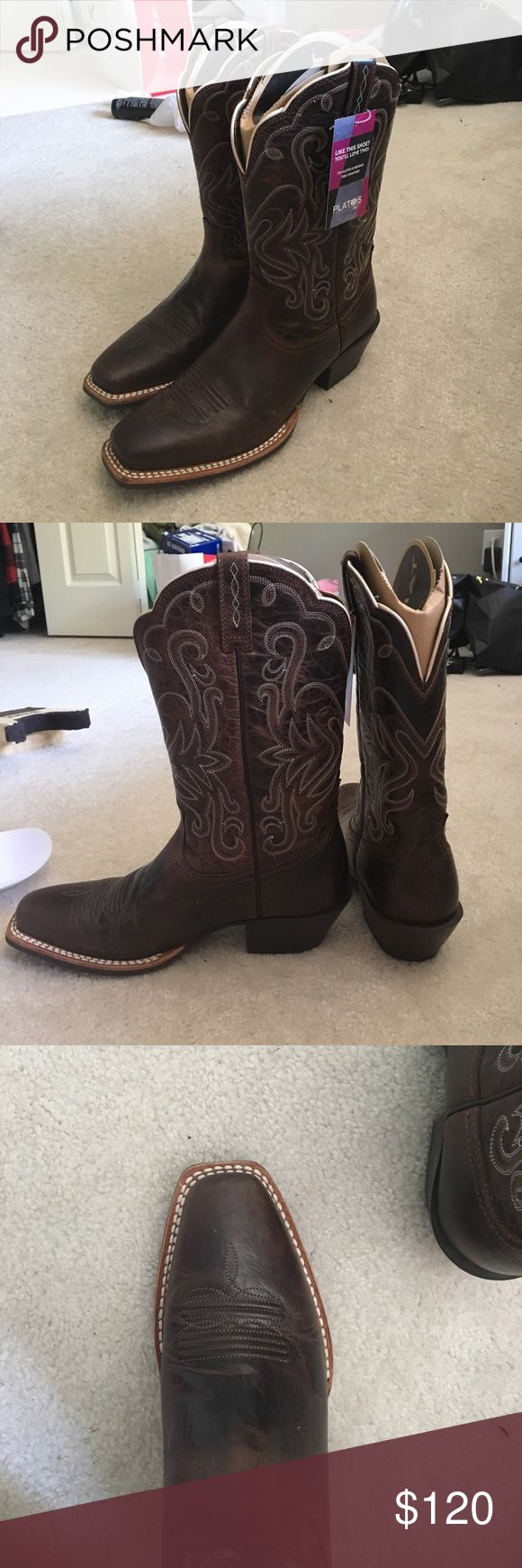 Brand new Ariat Cowboy Boots Brand new never worn Ariat Cowboy boots, dark brown with white stitching. Cardboard inserts still in them. Size 8.5, snip toe. Scalloped top edges, sadly they are too big for me. Ariat Shoes Heeled Boots