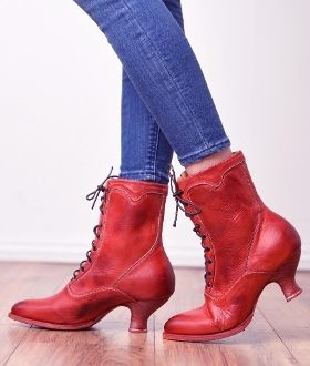 The Eleanor Red Leather Womens Granny Boots are a lovely leather wedding cowgirl boots with a Victorian old west boot look with lace up and hooks in a short shaft for women.